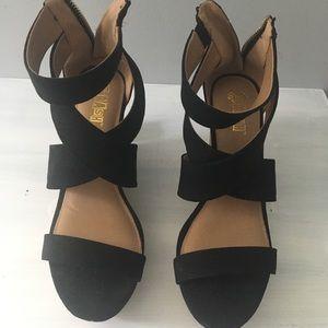 Shoes - Black Wedges Size 8